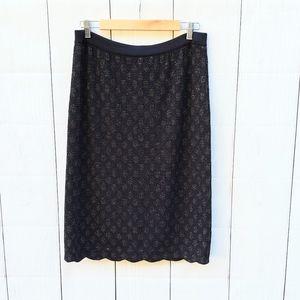 Ming Wang Sapphire black gold pencil skirt